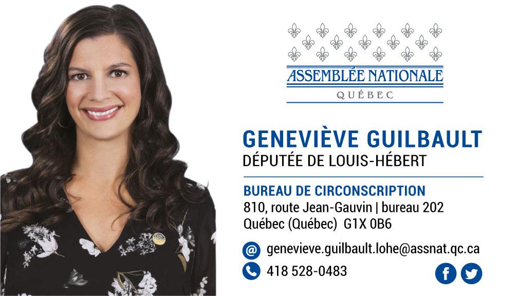 Carte d'affaires couleur Geneviève Guilbault